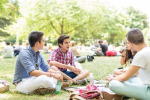 Embassy Central London students having lunch in Russell Square, which is near the Centre.